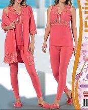 Pyjama de nuit Rose Fushia avec dentelle 3 pièces femme - Jenika
