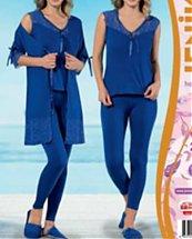 Pyjama de nuit Bleu avec dentelle 3 pièces femme - Jenika