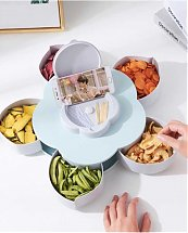 Assiette Candy Plateau à fruits - bac de rangement 5 compartiments rotatives