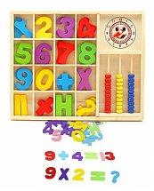 Jeu boite à compter : chiffres abacus et horloge en bois - Montessori