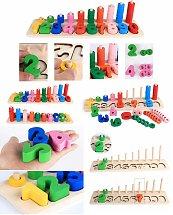 Jeu de Plateau d'apprentissage des chiffres en bois - Montessori