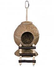 Maison de noix de coco avec échelle pour oiseaux 31 x 11,5 cm - Nobby