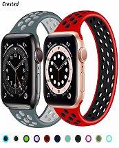 Bracelet apple Watch élastique en Silicone respirant,Boucle Solo 42mm/44mm