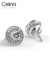Boucles d'Oreilles Diamants NASTIA Or Blanc 800/1000 0.70 Carat