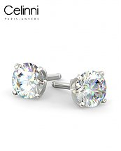 Boucles d'Oreilles Diamants Or Blanc 800/1000 0.50 Carat