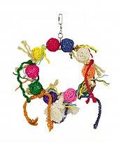 Jouet avec anneau, balle Osier, corde et coton pour Perroquet 30 cm de Vadigran