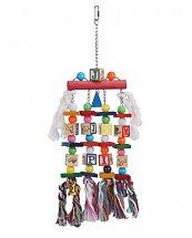 Jouet Multicolore bois, cordes et clochettes pour Perroquet 50 cm de Vadigran