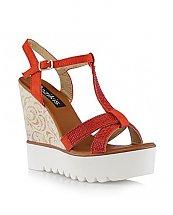 Sandales compensées Rouge - Bozikis