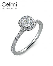 Bague Solitaire Diamant taille Coussin MA VIE Or Blanc 800/1000 1.10 Carat