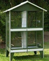 Volière extérieur NR15 - 4 Boxes vert avec toit blanc pour oiseau de Vadigran