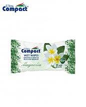 Lingette Humide de poche parfum de Magnolia - 15 pièces