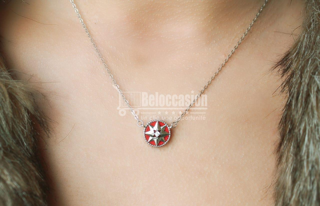 Collier Étoile du Nord Rouge en argent Certifié 925 pour femme Beloccasion maroc