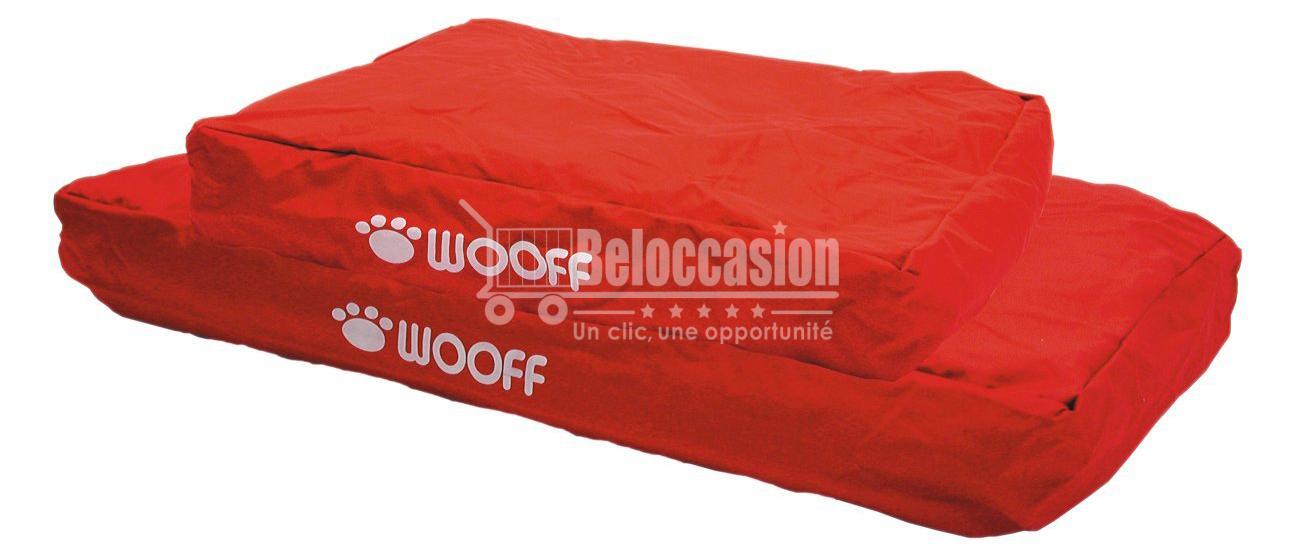Matelas Wooff Déhoussable Rouge pour chien et chat 75x55x15cm animalerie beloccasion maroc