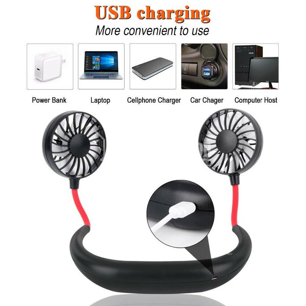Mini ventilateur portatif de bande de cou avec le refroidisseur d'air Rechargeable d'usb pour le bureau extérieur de voyage portatif