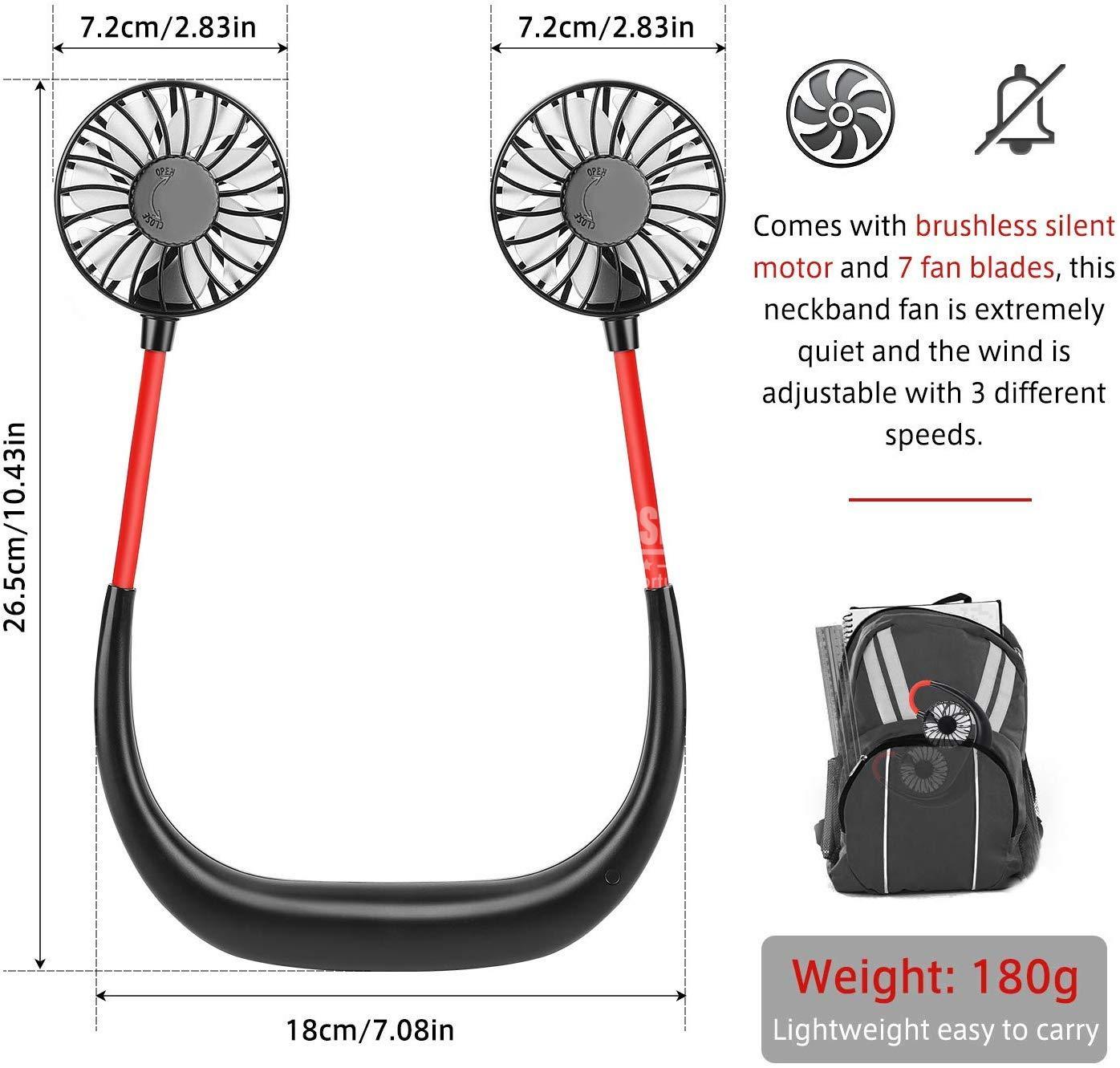 Neck Hanging Sport Fun 360° Portable USB Rechargeable Mini ventilateur portatif de bande de cou avec le refroidisseur d'air Rechargeable d'usb pour le bureau extérieur de voyage portatif beloccasion maroc
