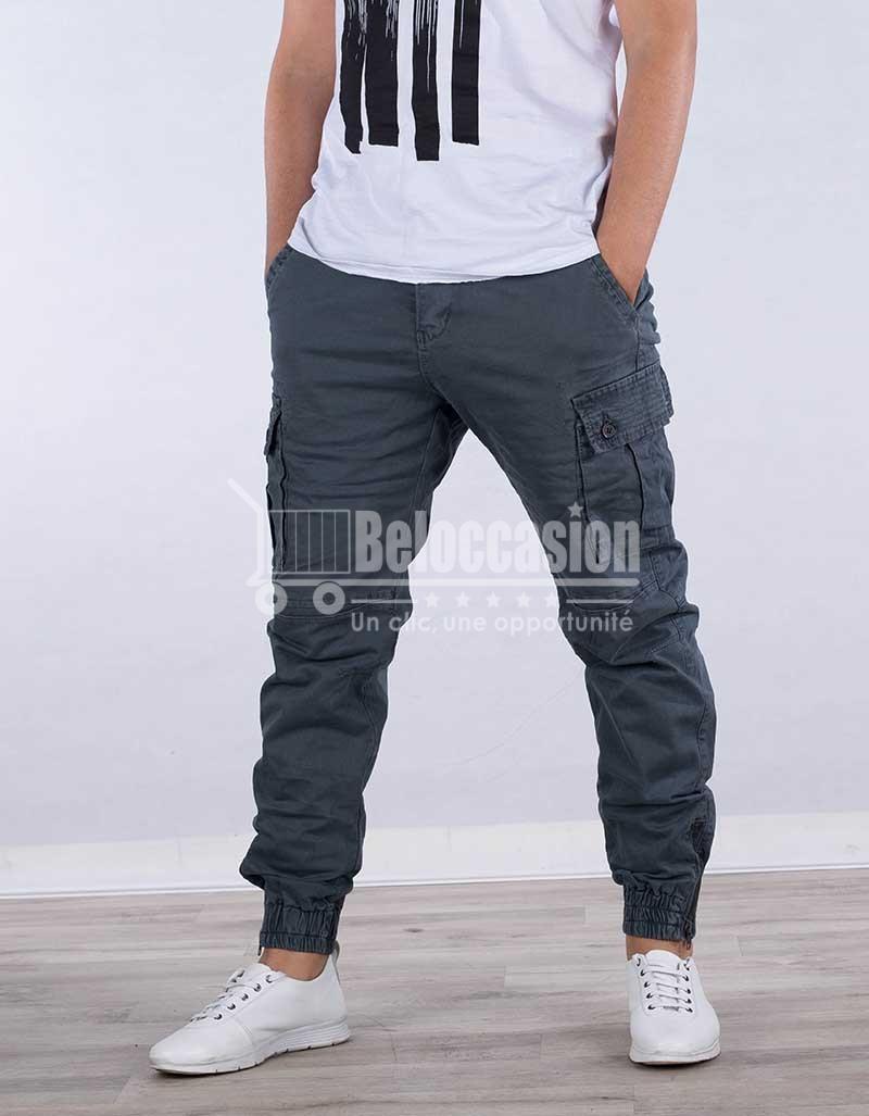 PANTALON GRIS AVEC BONDE A PIED pantalon pour homme au Maroc pantalon fashion sport Maroc vente en ligne site e-commerce beloccasion Maroc