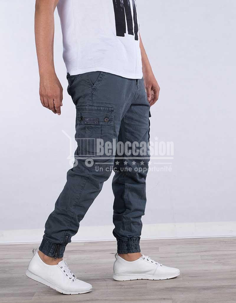 PANTALON GRIS AVEC BONDE A PIED AK7222-2 pantalon pour homme au Maroc pantalon fashion sport Maroc vente en ligne site e-commerce beloccasion Maroc