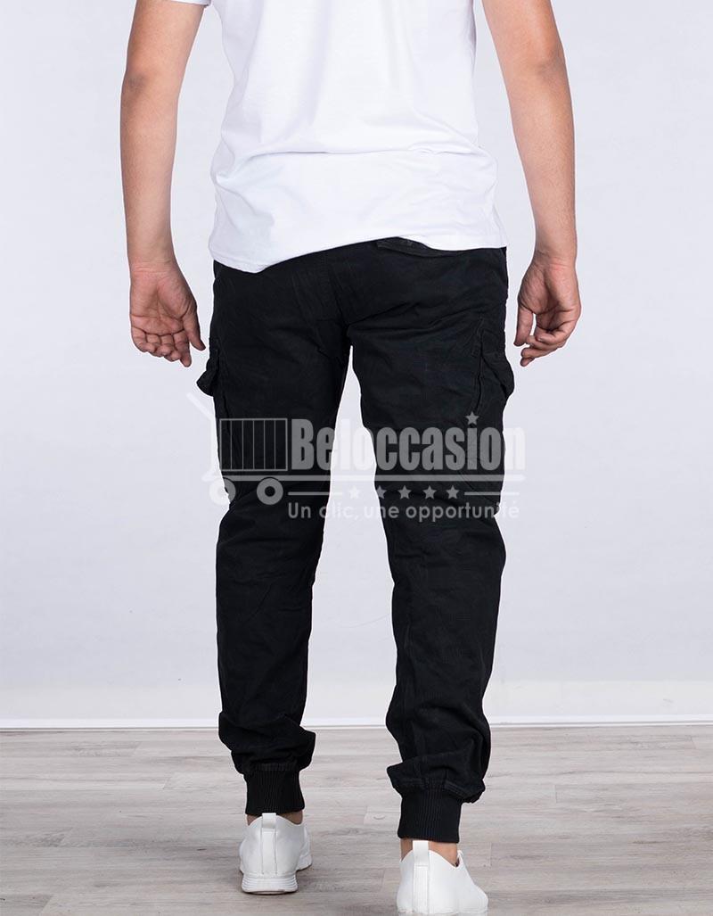 PANTALON NOIR AVEC BONDE A PIED AK7211 1 pantalon pour homme au Maroc pantalon fashion sport Maroc vente en ligne site e-commerce beloccasion Maroc