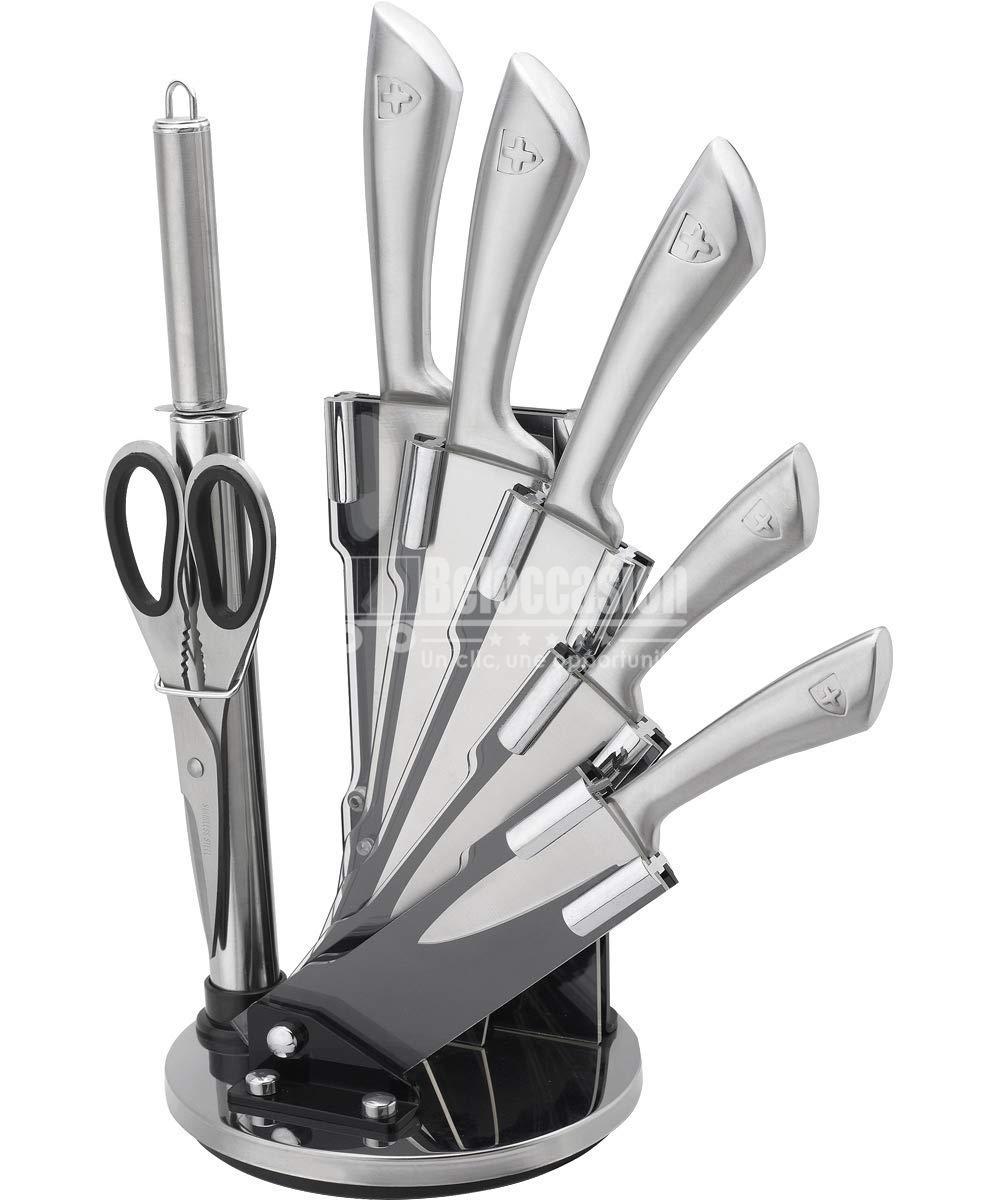 Set de 5 couteaux en Inox avec Ciseau, Fusil et support pivotant 8 pièces - Royalty Line beloccasion maroc