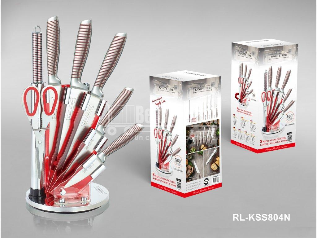 Set de 5 couteaux en Inox avec ciseau, fusil et support pivotant - rouge Royalty Line cuisine au maroc accessoire pour la cuisine vente en ligne beloccasion.com