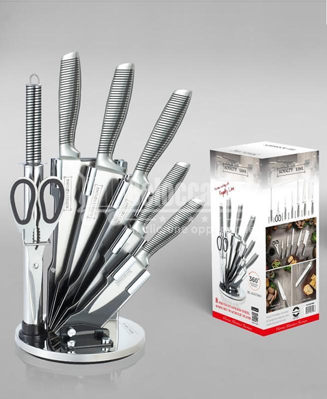 Set de 5 couteaux en Inox avec ciseau, fusil et support pivotant - Royalty Line cuisine au maroc accessoire pour la cuisine vente en ligne beloccasion maroc